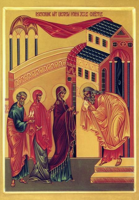 """Ikone """"Begegnung des Herrn"""" aus der byzantinischen Nikolaus-Kirche der Abtei Niederaltaich"""