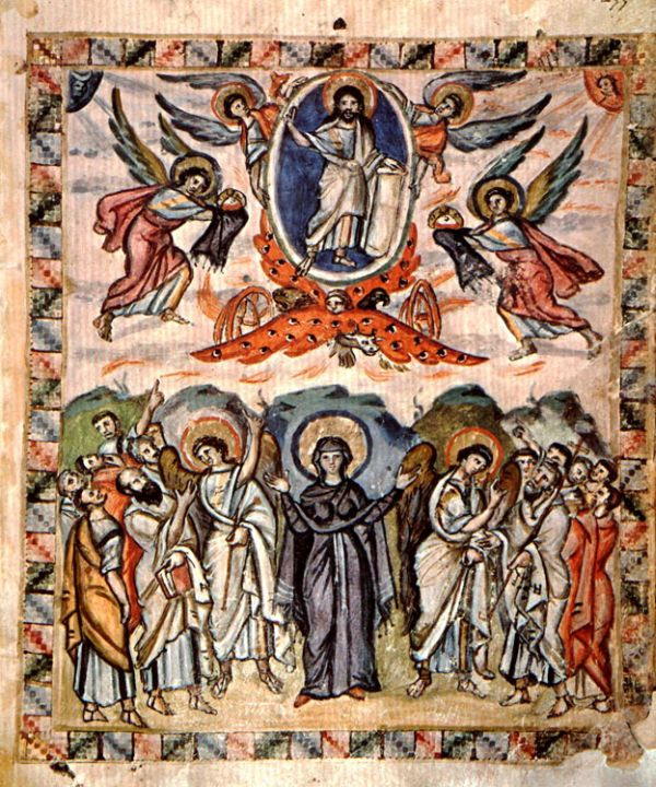 Rabula-Evangeliar, 586 n. Chr., Miniatur fol. 13v Christi Himmelfahrt (von Meister des Rabula-Evangeliums [Public domain], via Wikimedia Commons).