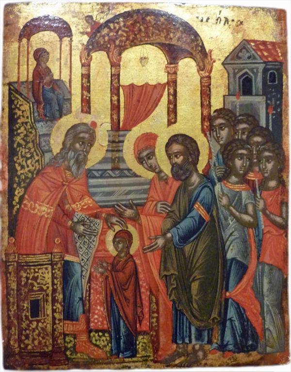 """Darstellung im Tempel"""" (griechisch, 17. Jahrhundert) aus der Sammlung Prof. DDr. Ekkart Sauser."""