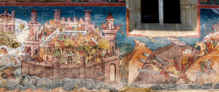 Darstellung der Belagerung Konstantinopels im Kloster Moldovița (Wikimedia Commons)