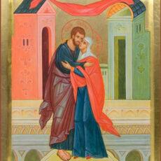 """Joachim und Anna am """"Goldenen Tor"""" des Jerusalemer Tempels als Ikonenmotiv für das Fest Maria Geburt"""